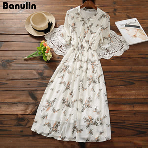 Mori Girl Sweet Dress 2018 New Summer Women Floral Print Long Chiffon Dress Female Short Sleeve Pleated Vestidos Korean Fashion