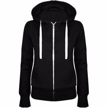 Load image into Gallery viewer, Classic Women Hoodies  New Spring Autumn Zipper Hooded Sweatshirts Tie Collar Hoody Jacket Women's Coat Pockets Outerwear
