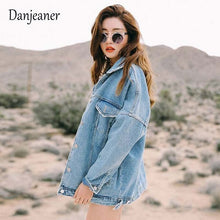 Load image into Gallery viewer, Danjeaner  BF Wind Loose Large Size Denim Jacket Female Turn Down Collar Coat Casual Jean Jackets Frayed Pattern Basic Coat