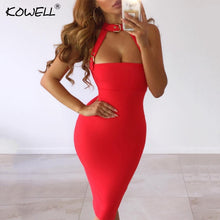 Load image into Gallery viewer, Backless Halter Belt Sexy Dress Women Sleeveless Hollow Out Knee-Length Summer Bodycon Dress Tank Sexy Club Party Dress Women