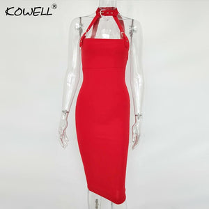 Backless Halter Belt Sexy Dress Women Sleeveless Hollow Out Knee-Length Summer Bodycon Dress Tank Sexy Club Party Dress Women