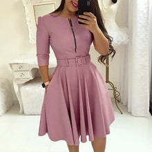Load image into Gallery viewer, 2018 Summer Women Fashion Elegant A-Line Tunic Party Dress Female O-Neck Colorful Solid Zipper Up Belted Pleated Casual Dress