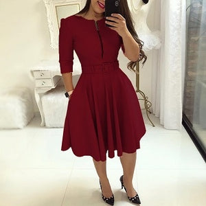2018 Summer Women Fashion Elegant A-Line Tunic Party Dress Female O-Neck Colorful Solid Zipper Up Belted Pleated Casual Dress