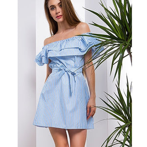 Sexy Off Shoulder Mini Dresses Women Slash Neck Sleeveless Slim Elastic Waist Bow Dresses Stripe A-line Breathable Party Dress