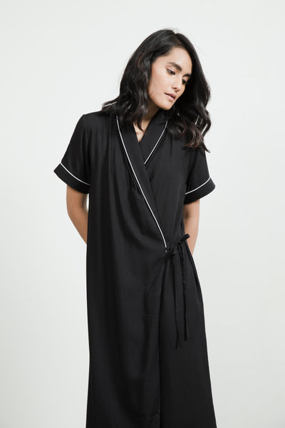 Nias Rayon Wrap Nightdress in Black