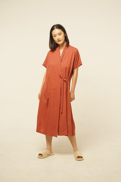 Nias Rayon Wrap Nightdress in Terracotta