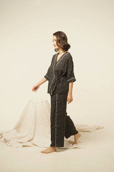 Lialang Rayon Wide Leg Pants in Black Dots
