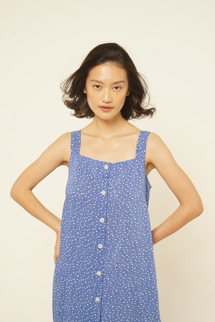 Ulu Rayon Tank Dress in Blue Dots