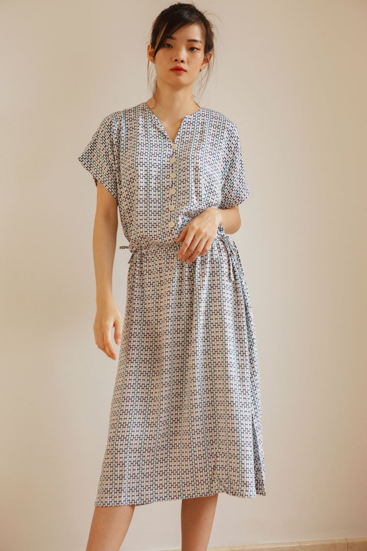 Buni Rayon Loose Nightdress In Blue Scallop