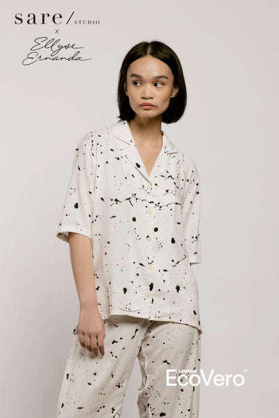 Moro Pajama Shirt in Off White Splats