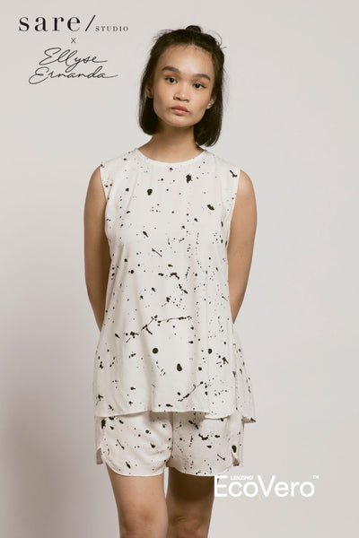 Bila Pajama Top in Off White Splats