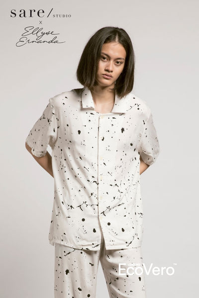 Moro Men Pajama Shirt in Off White Splats