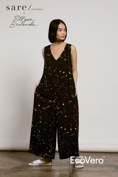Meno Jumpsuit in Off Black Splats