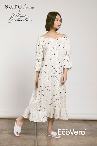 Gili Double Puff Sleeve Dress in Off White Splats