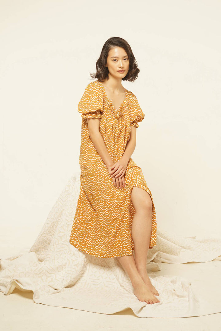 Lamalera Rayon Puff Sleeves Nightdress in Mustard Dots