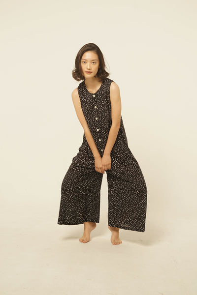 Banda Rayon Jumpsuit in Black Dots
