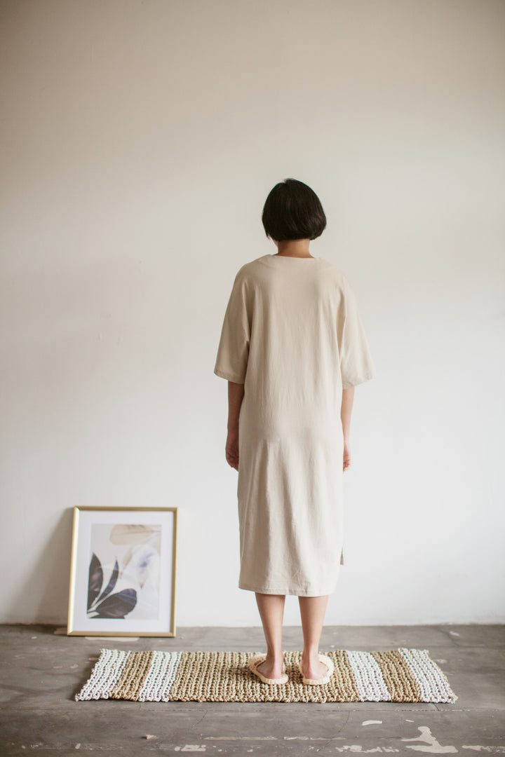 Tepa Cotton Batwing Nightdress in Beige