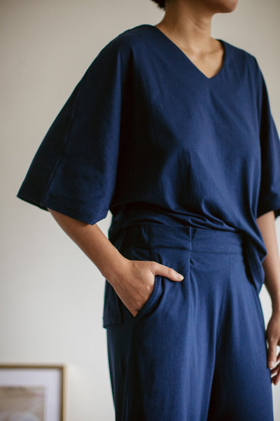 Tahuna Cotton Batwing Sleeve Set in Navy
