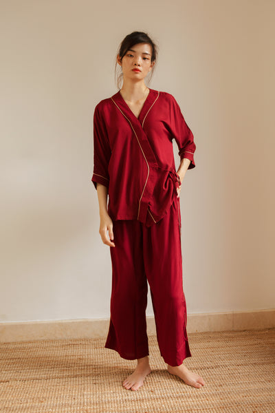 Lialang Rayon Wide Leg Pants In Maroon