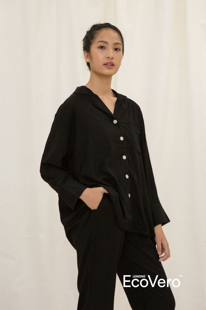 Solo A Line Long Sleeve Top in Black