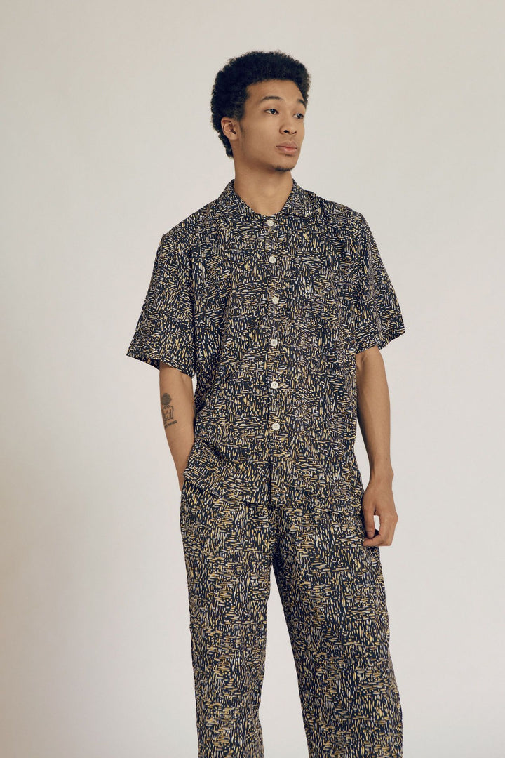 Mappi Men Rayon Short Sleeve Top in Dash
