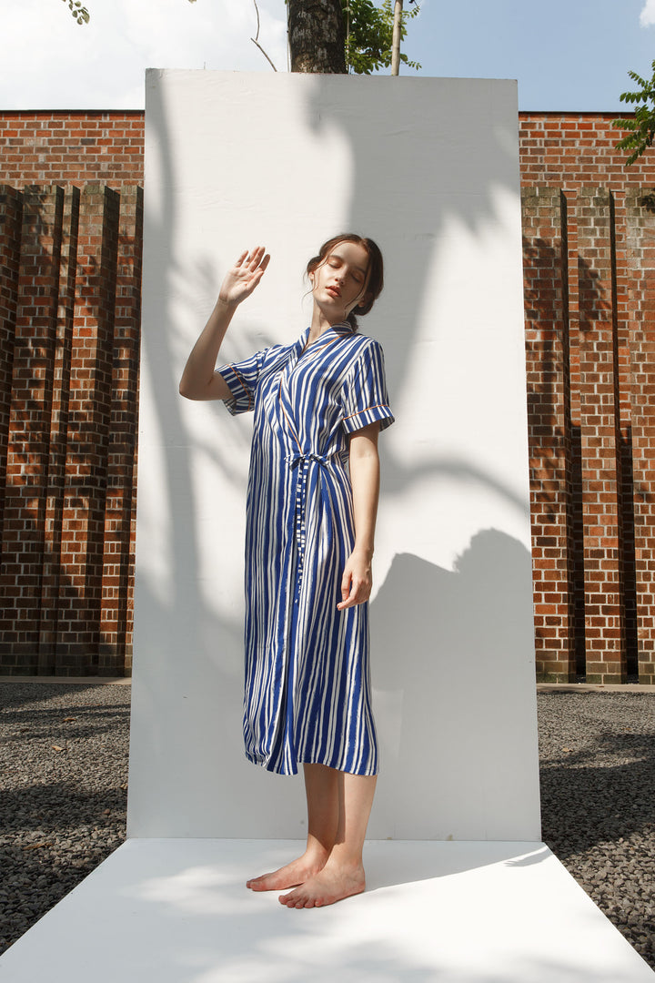 Nias Rayon Wrap Nightdress in Blue Stripes