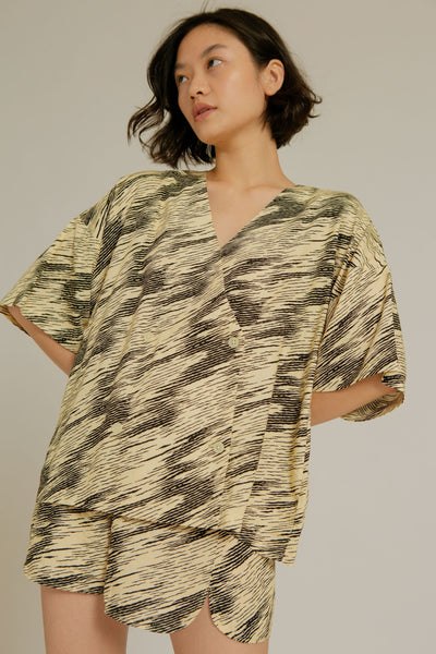 Apu Rayon Pajama Top In Zebra