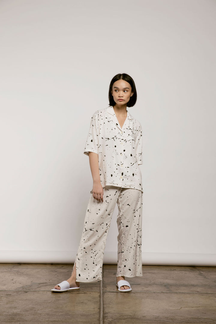 Silam Pajama Pants in Off White Splats