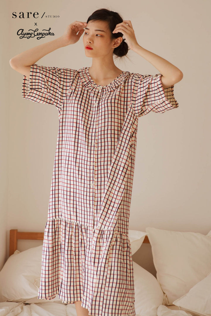 Bian Rayon Ruffle Collar Nightdress in Checker