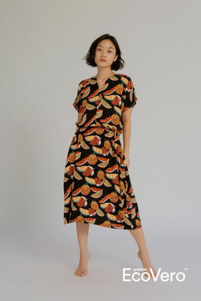 Buni Loose Nightdress in Black Fruit