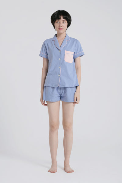 Mariri Stretch Cotton Shorts in Blue