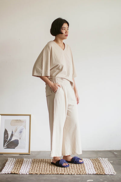 Tahuna Cotton Batwing Sleeve Set in Beige