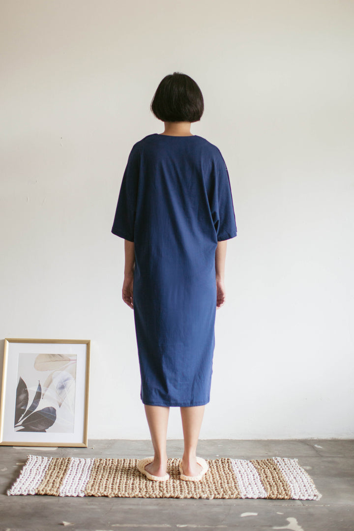 Tepa Cotton Batwing Nightdress in Navy