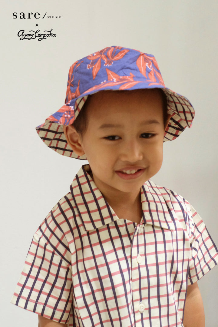 Raha Kids Reversible Bucket Hat in Clove/ Checker