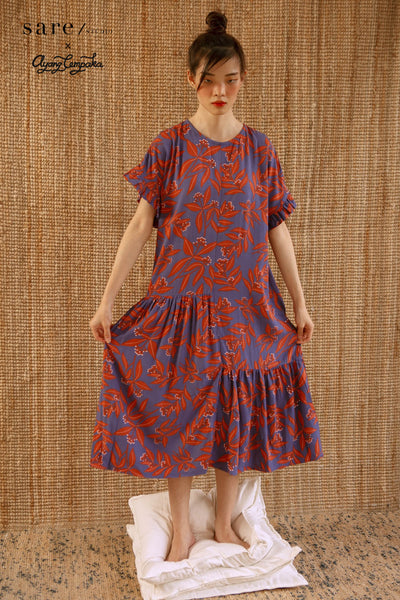 Moyo Tiered Rayon Nightdress in Clove
