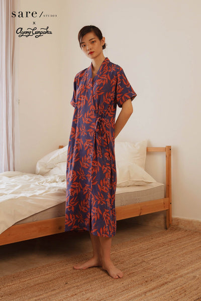 Nias Rayon Wrap Nightdress in Clove