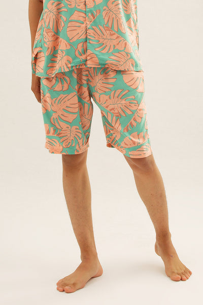 Mariri Men Rayon Shorts in Monstera Print