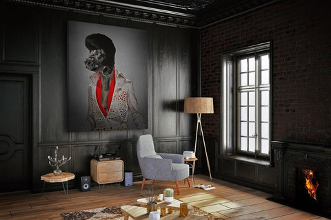 Image of Elvis Presley dog wall portrait painting
