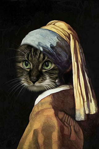 Image of Pet with a Pearl Earring // Custom Pet Portrait