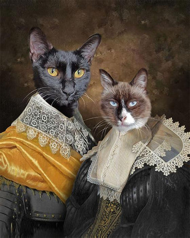 Lovers cat art canvas painting print