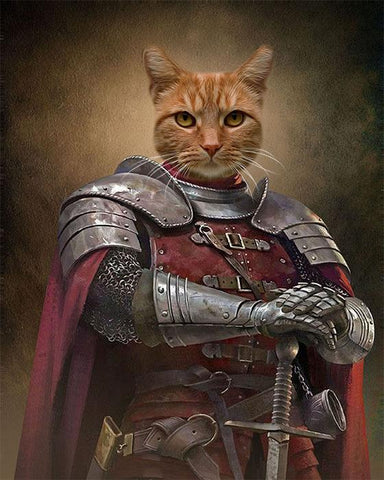 Knight cat art portrait