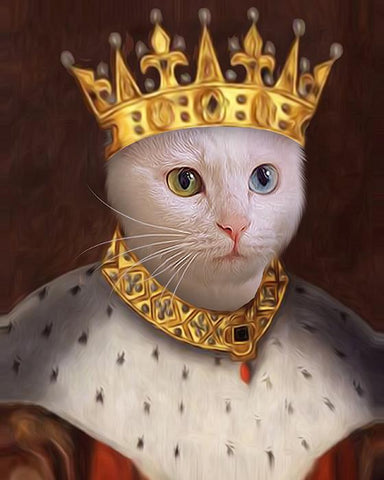 king cat painting portrait