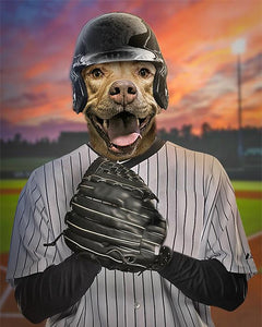 Baseball Pet-Player // Custom Pet Portrait
