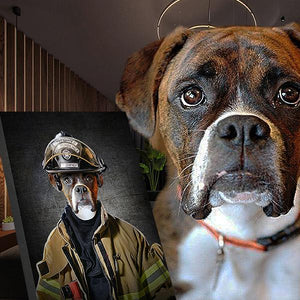 fire fighter dog portrait