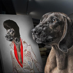 Elvis Presley  dog painting