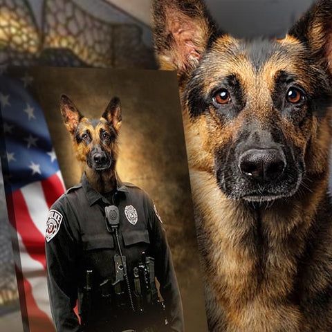 Image of K9 dog portrait painting