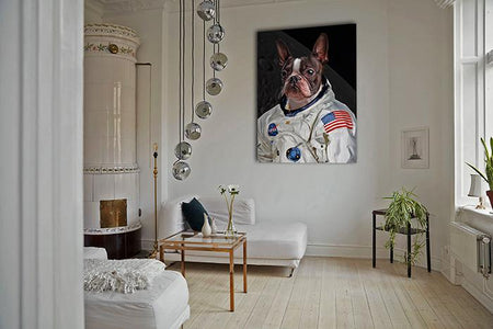 astronaut cute dog art