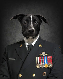 Navy dog portrait print art