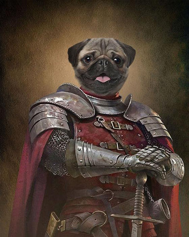 Knight dog painting canvas