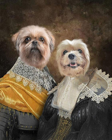 Lovers dog print art portrait